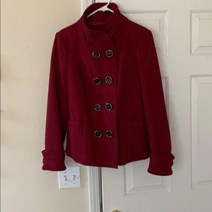 Red pea coat